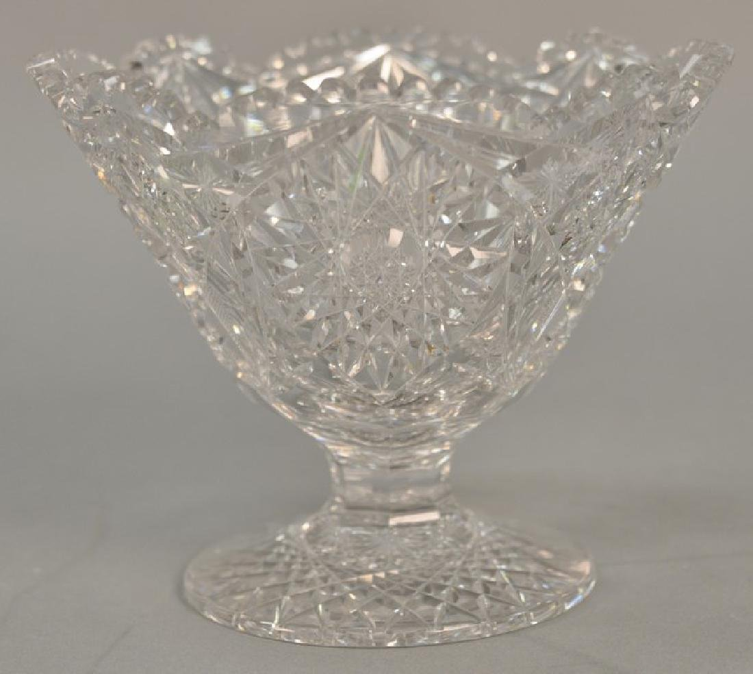 Cut glass compote on round footed base. ht. 6 1/2in.,