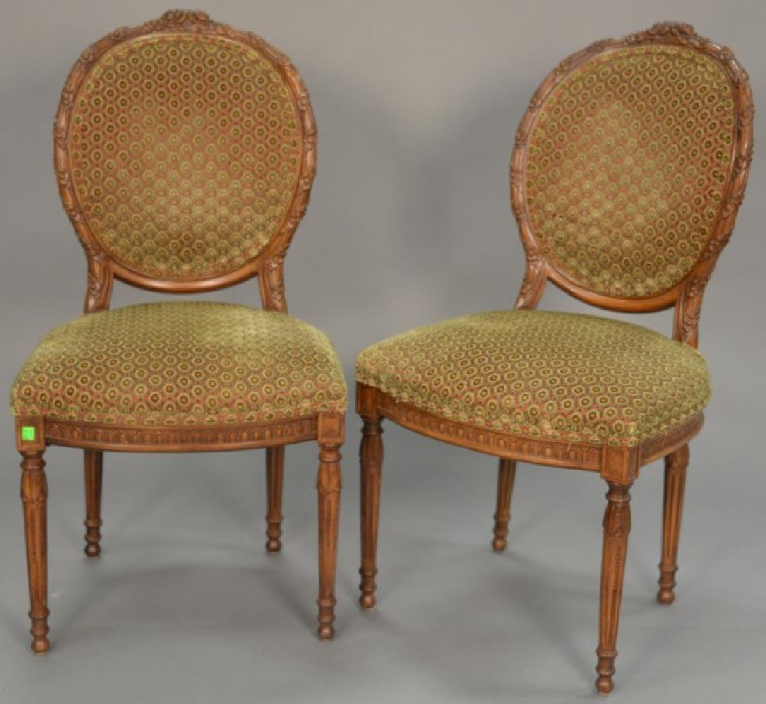 Set of eight Louis XVI style side chairs, custom