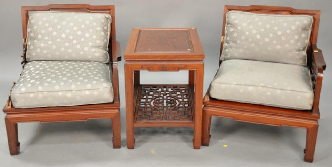 Three piece Chinese set including three armchairs and