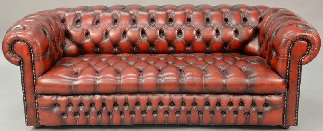 House of Chesterfield sofa in tufted leather, labeled