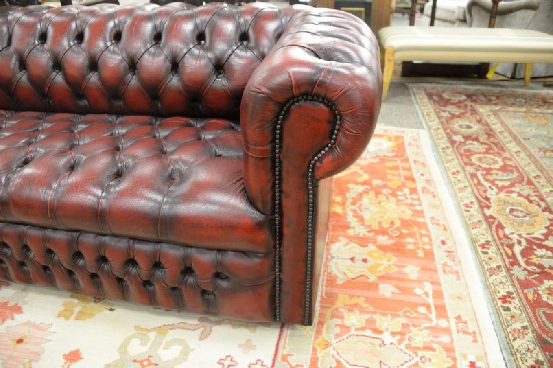 House of Chesterfield sofa in tufted leather, labeled - 3
