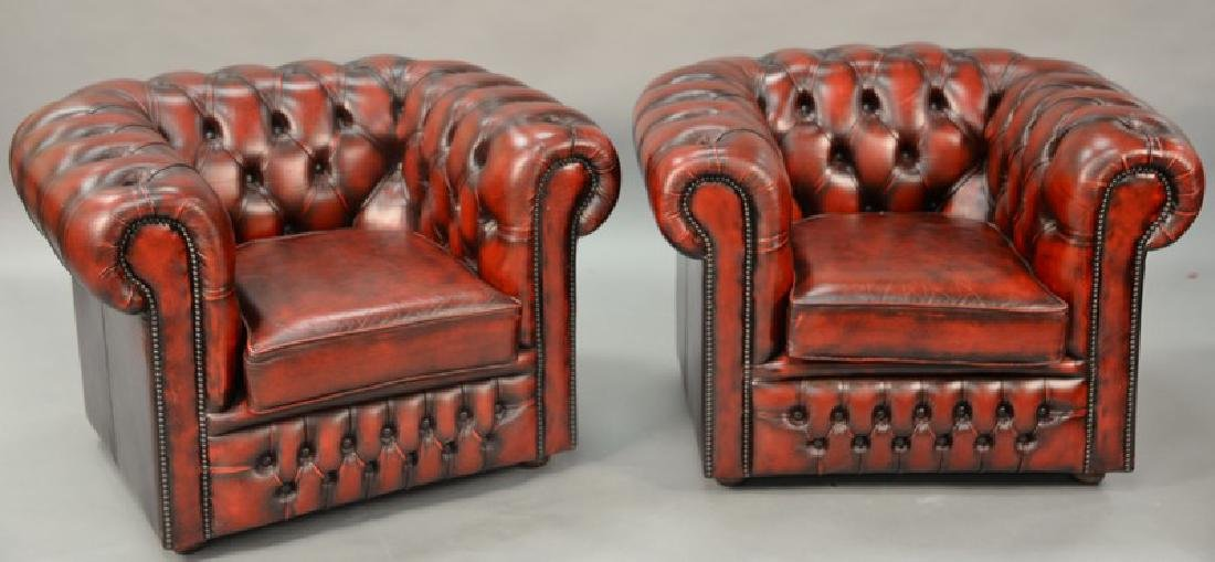 Pair of House of Chesterfield chairs, marked on back