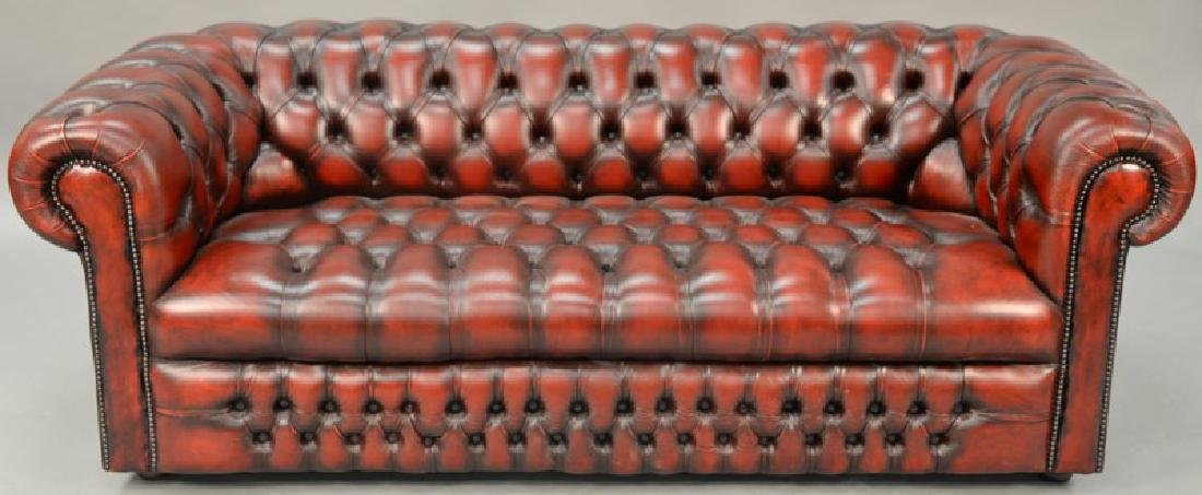 House of Chesterfield sofa, tufted leather upholstery,