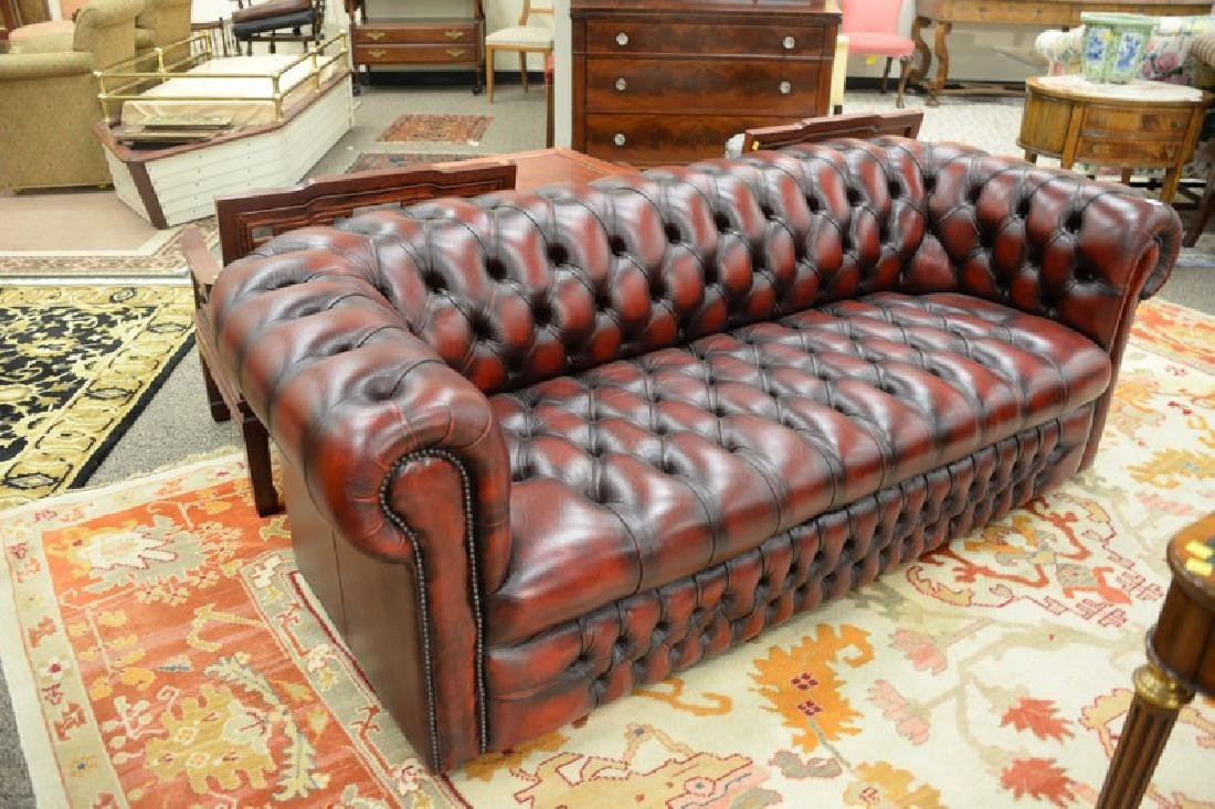 House of Chesterfield sofa, tufted leather upholstery, - 2
