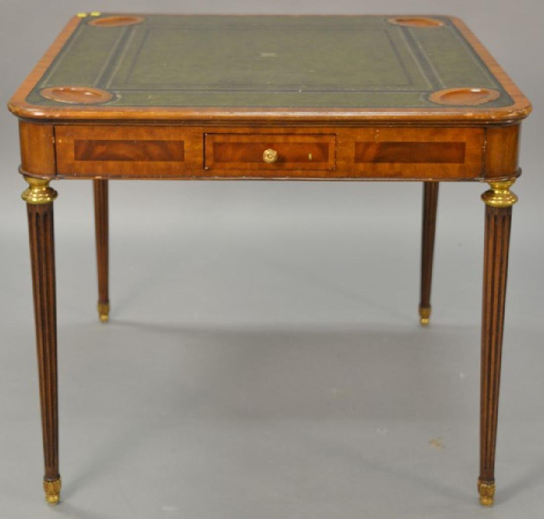 Maitland Smith mahogany games table with leather top