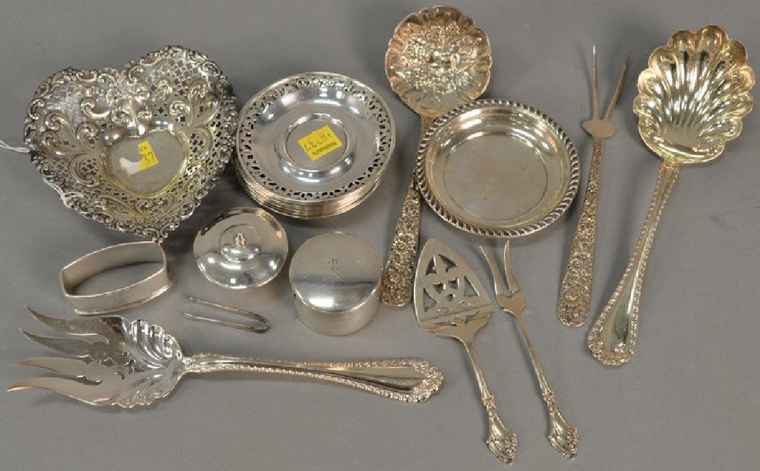 Tray lot of sterling silver to include saucers, heart