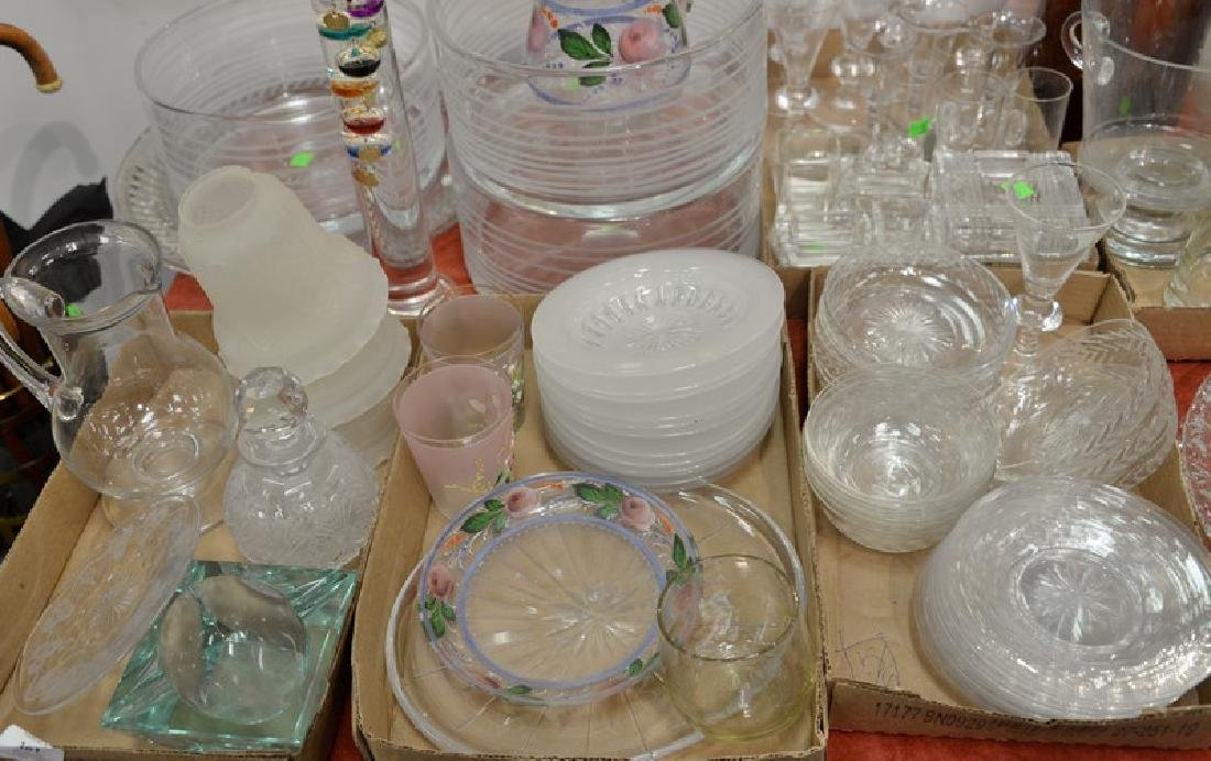 Five tray lots of crystal and glass to include three