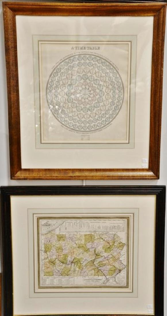 Group of three framed maps including Augustus Mitchell