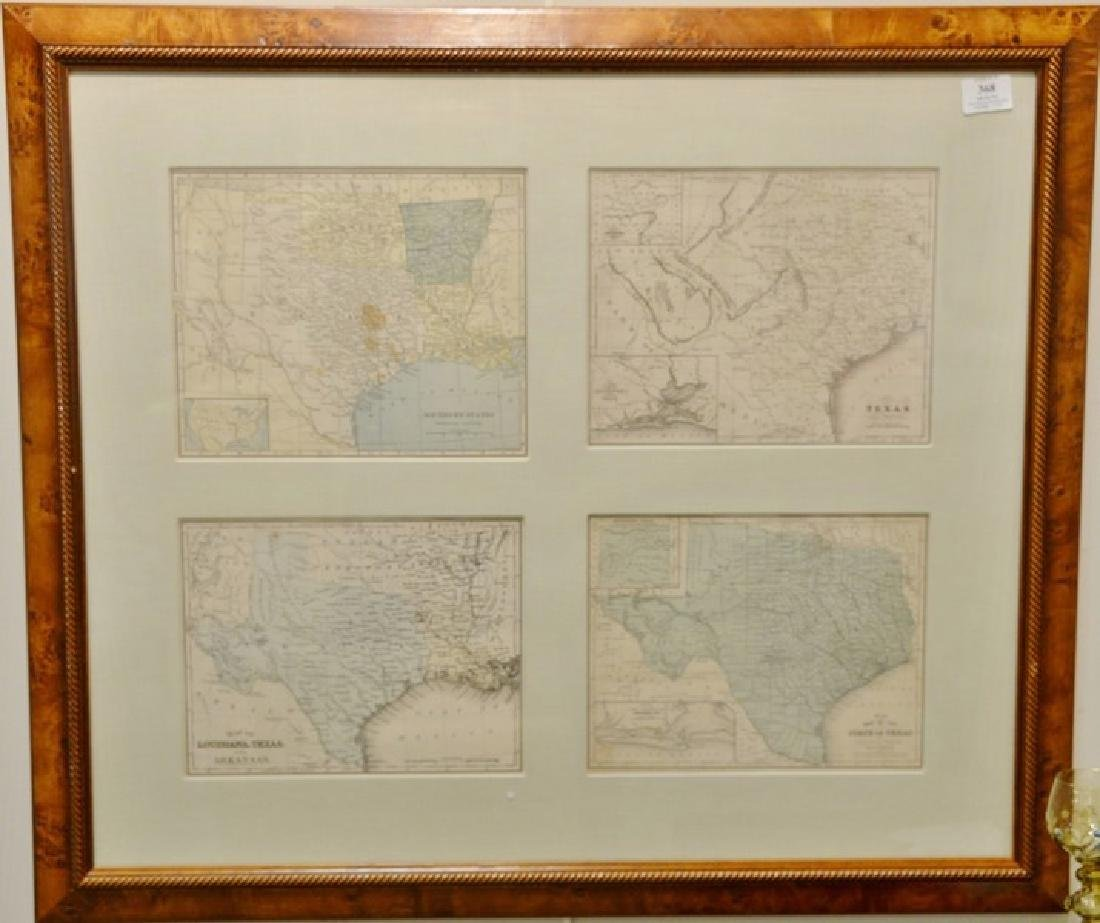 Group of four engraved maps in one frame including No.
