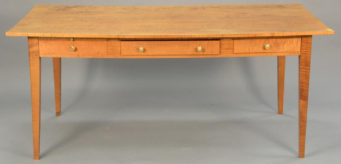 Custom tiger maple table with two drawers. ht. 30in.,
