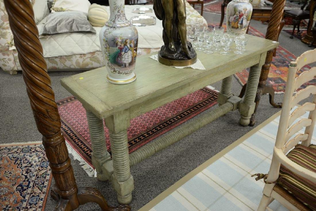 "Jacobean style painted hall table. ht. 32in., top: 18"" - 2"