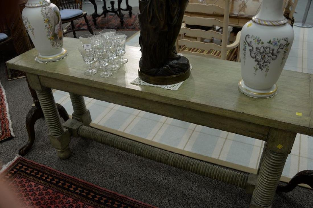 "Jacobean style painted hall table. ht. 32in., top: 18"" - 3"