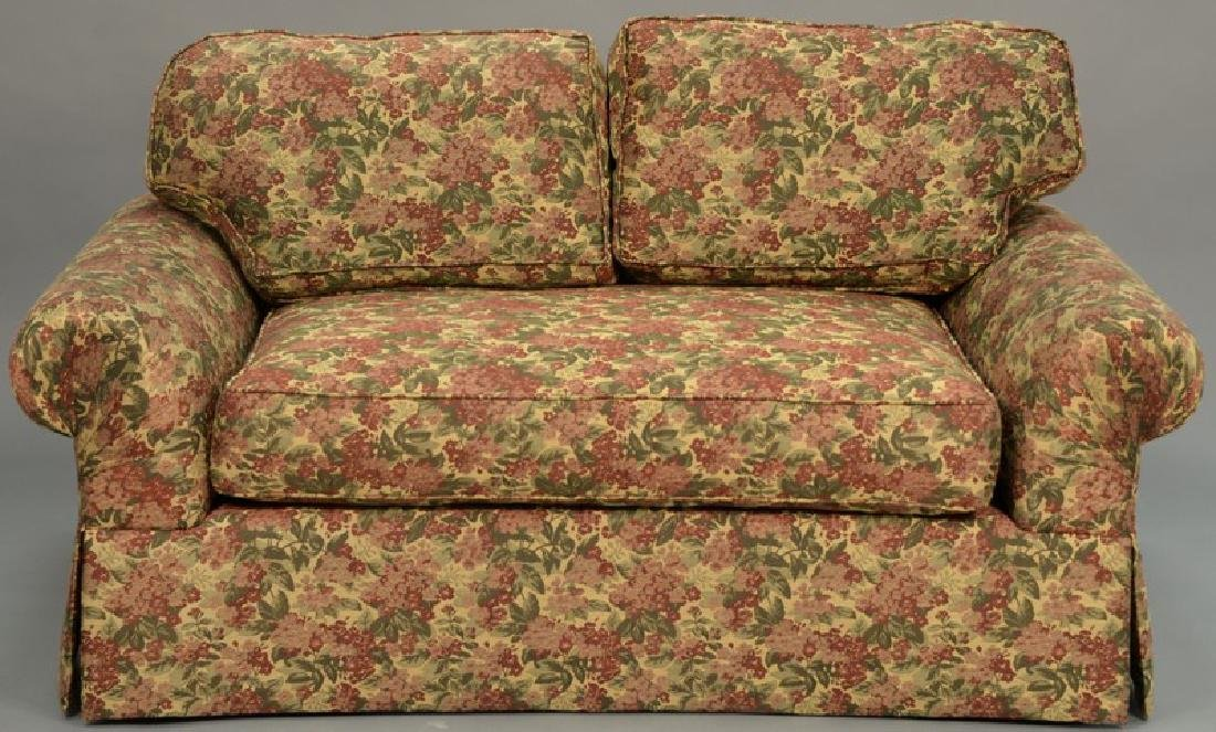 Two piece lot to include custom sofa and loveseat,