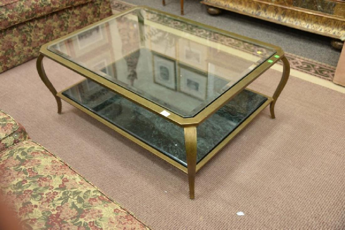 Glass top coffee table with metal frame and marble - 2
