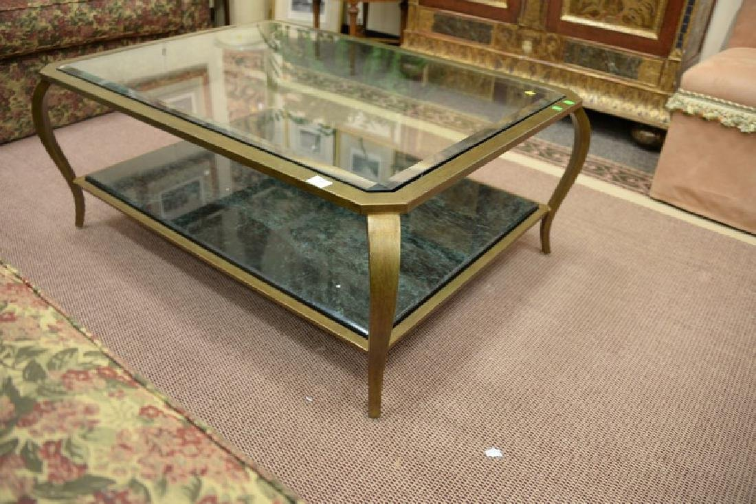 Glass top coffee table with metal frame and marble - 3