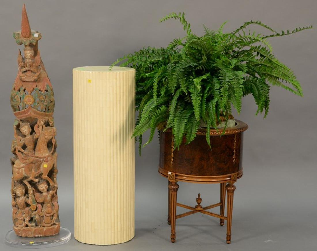 Three piece group to include a mahogany plant stand