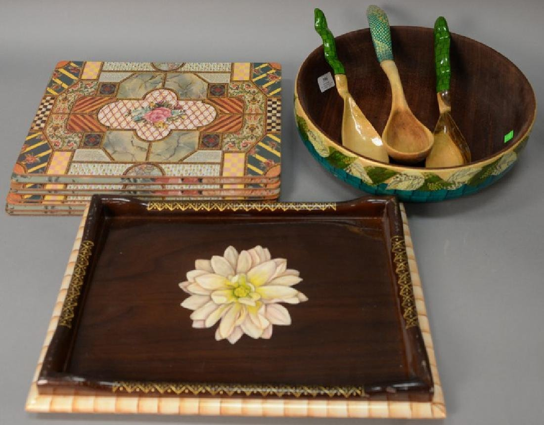 Group of placemats and serving pieces, Bibi Leon signed