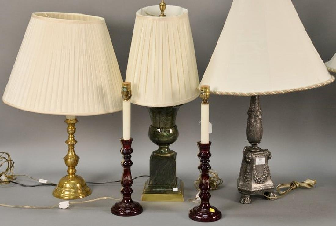 Six table lamps including two pair and two odd lamps.