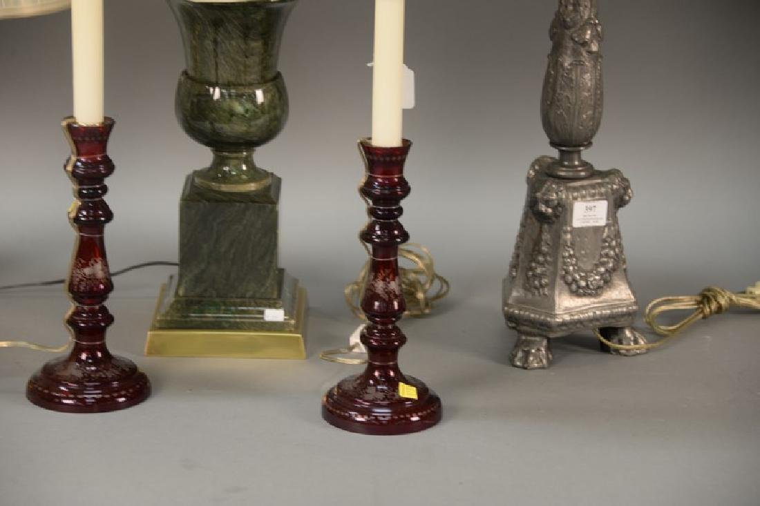 Six table lamps including two pair and two odd lamps. - 4