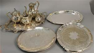 Group of silver plate to include five large silver