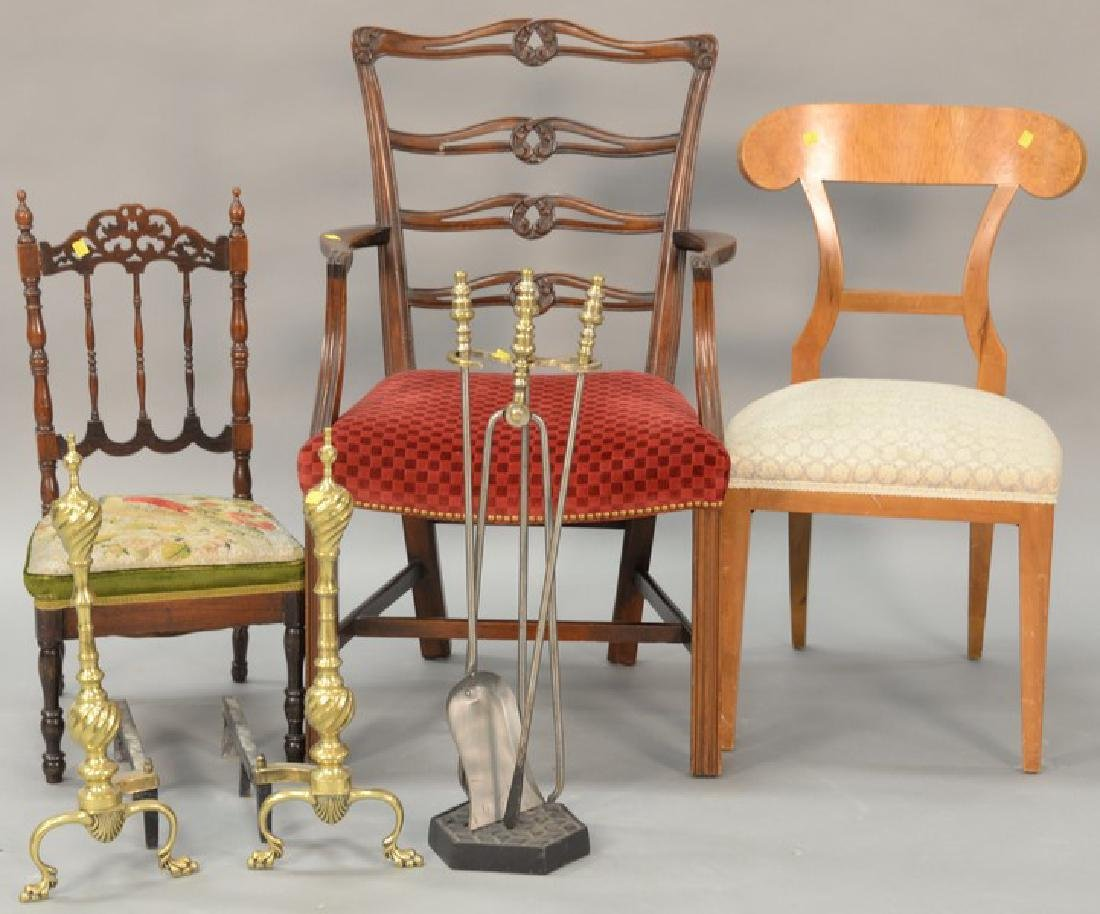 """Six piece lot including tip table (top: 29"""" x 29""""),"""