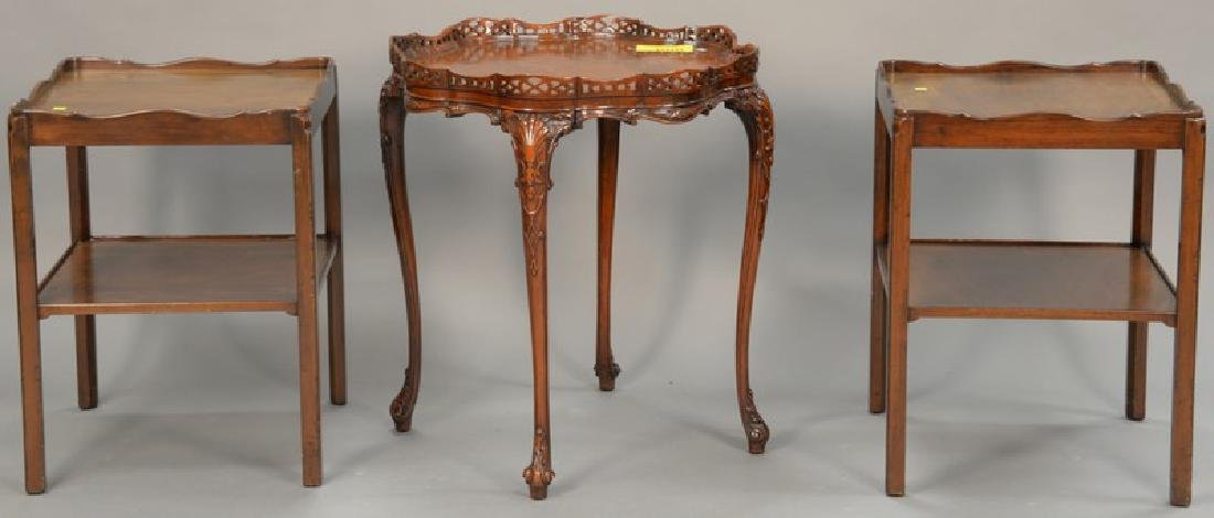 Three mahogany living room tables including a pair of