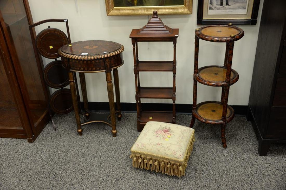Five piece group lot to include three stands, one - 4