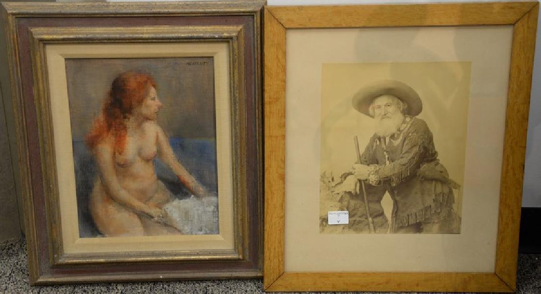 Two piece lot to include an oil on canvas laid on board