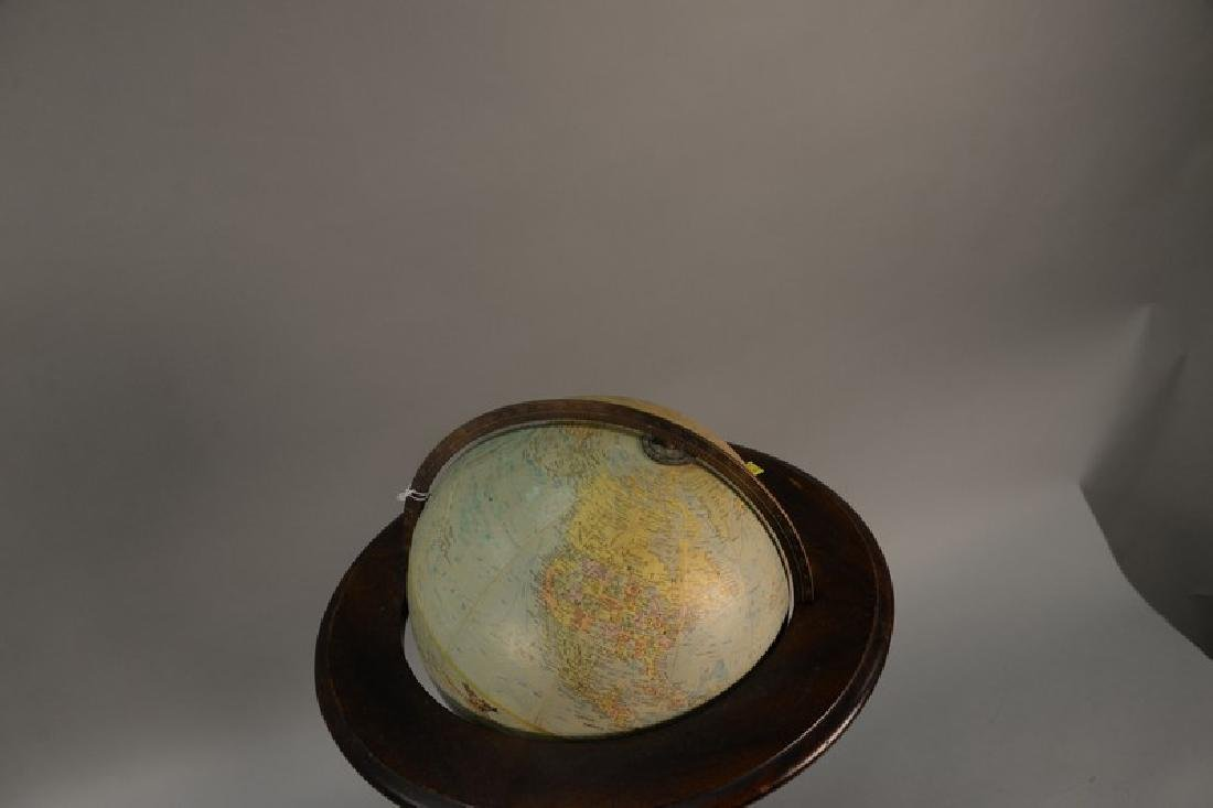 Globe on wood stand. ht. 35in., total dia. 17in. - 2