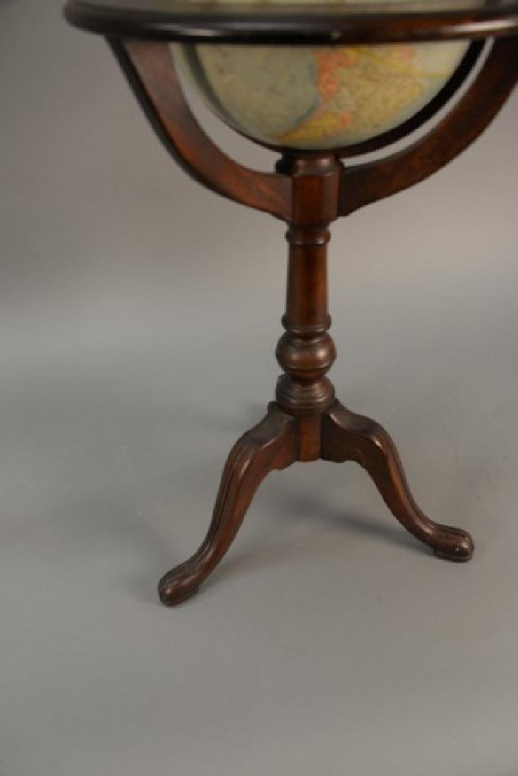 Globe on wood stand. ht. 35in., total dia. 17in. - 3