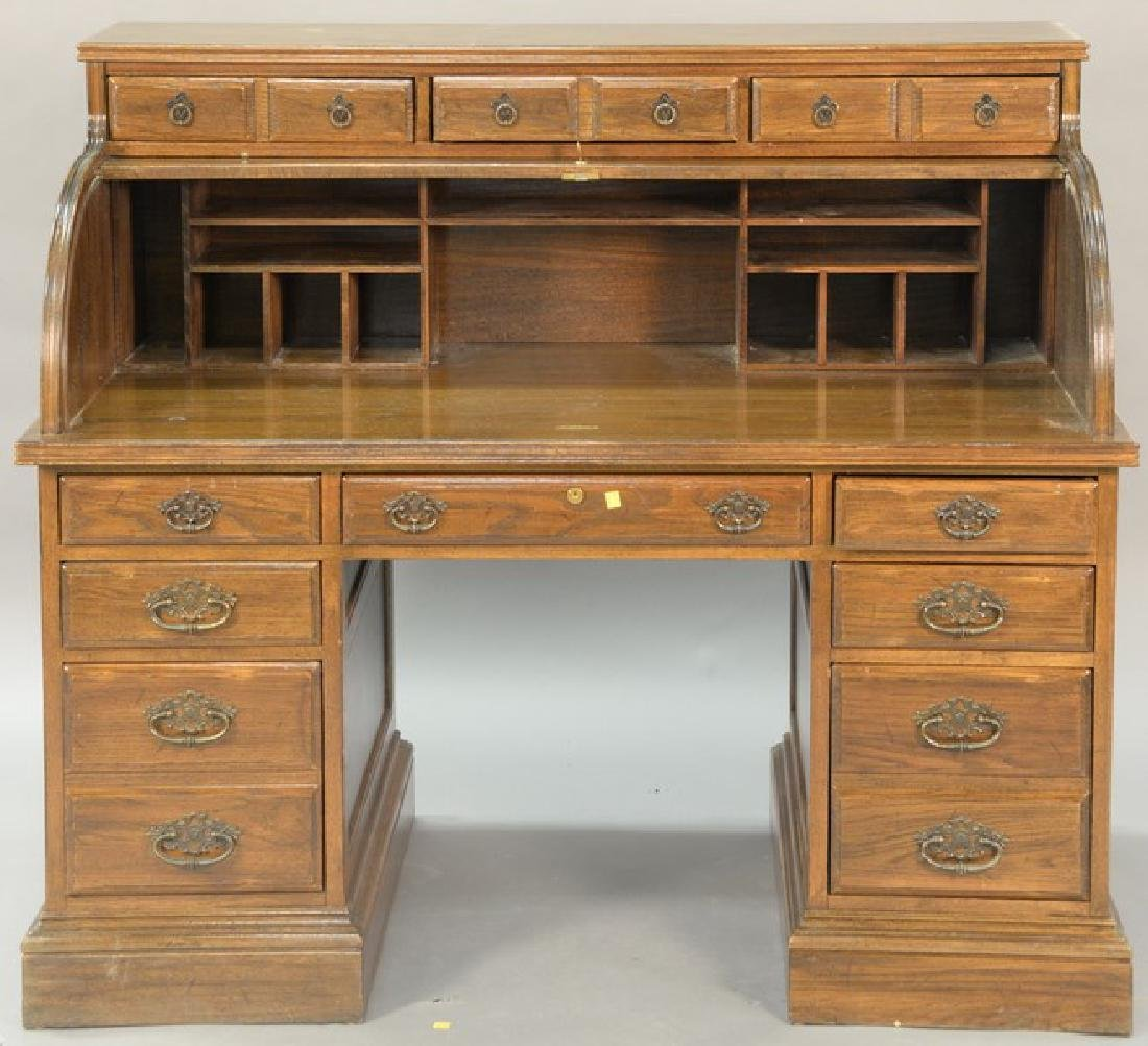 Ethan Allen Contemporary Oak Roll Top Desk Ht 48