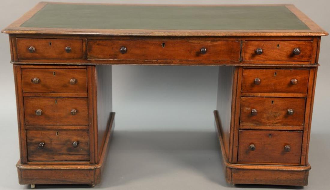 Three part mahogany knee hole desk
