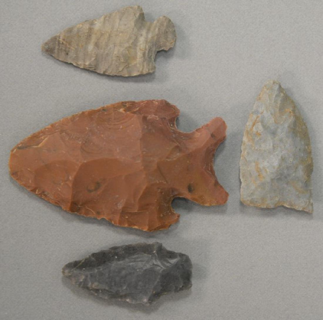 "Four Indian arrowheads to include ""Side Notch #2"","