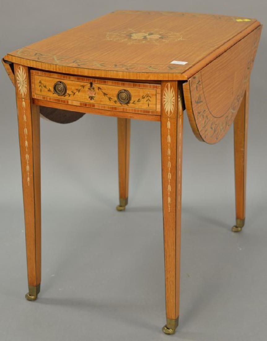Satinwood inlaid and painted Pembroke table. ht. 28