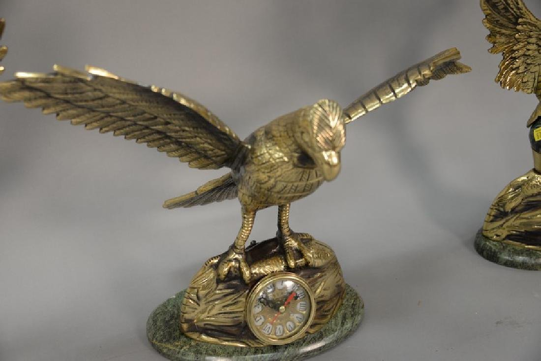 Brass three piece clock set having flying bird on - 2