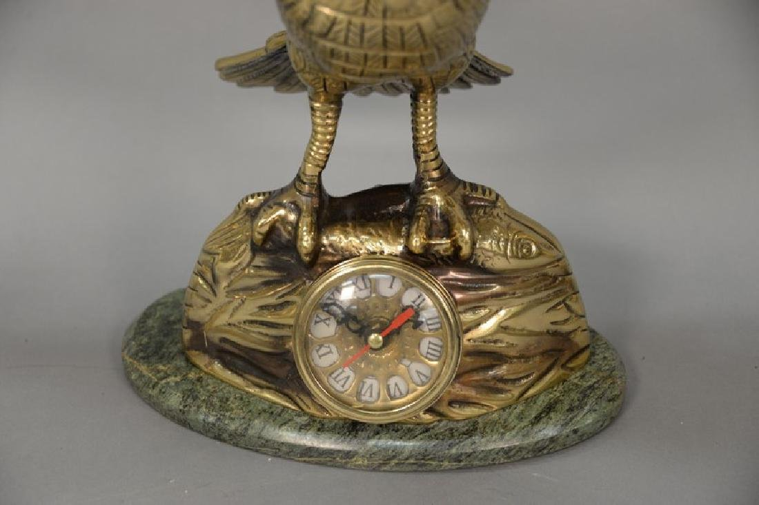 Brass three piece clock set having flying bird on - 3