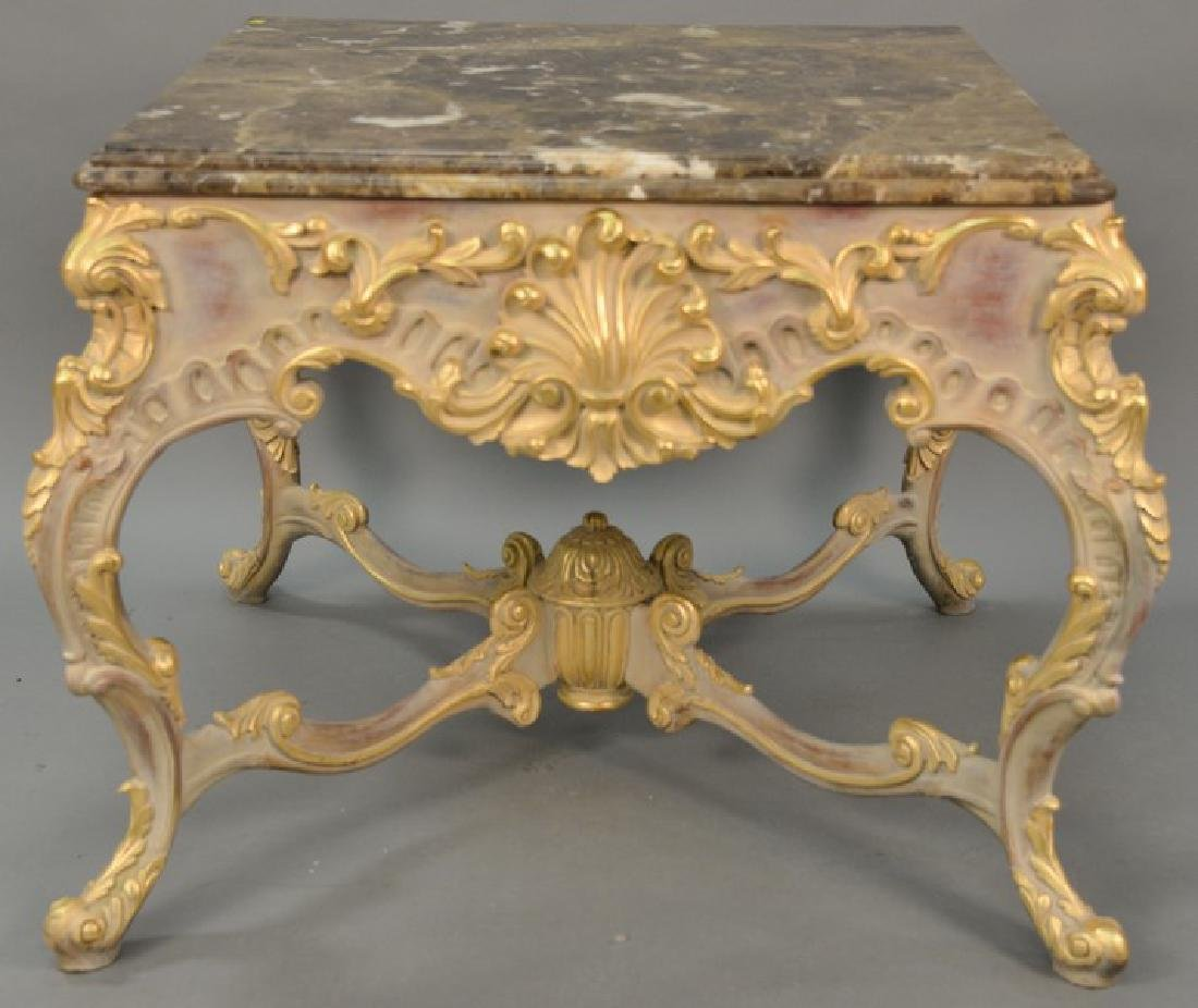 Large Continental French style marble top center table