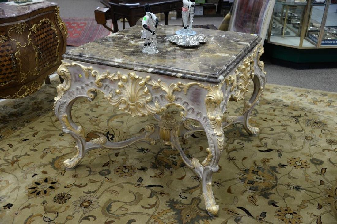 Large Continental French style marble top center table - 2