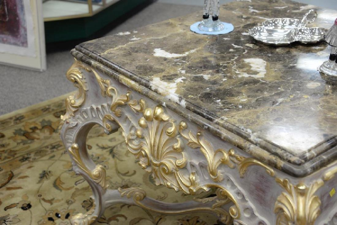 Large Continental French style marble top center table - 5