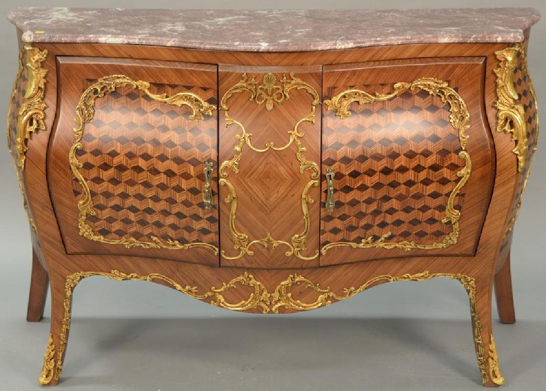 Large French style commode with marble top over two