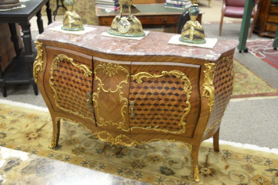 Large French style commode with marble top over two - 2