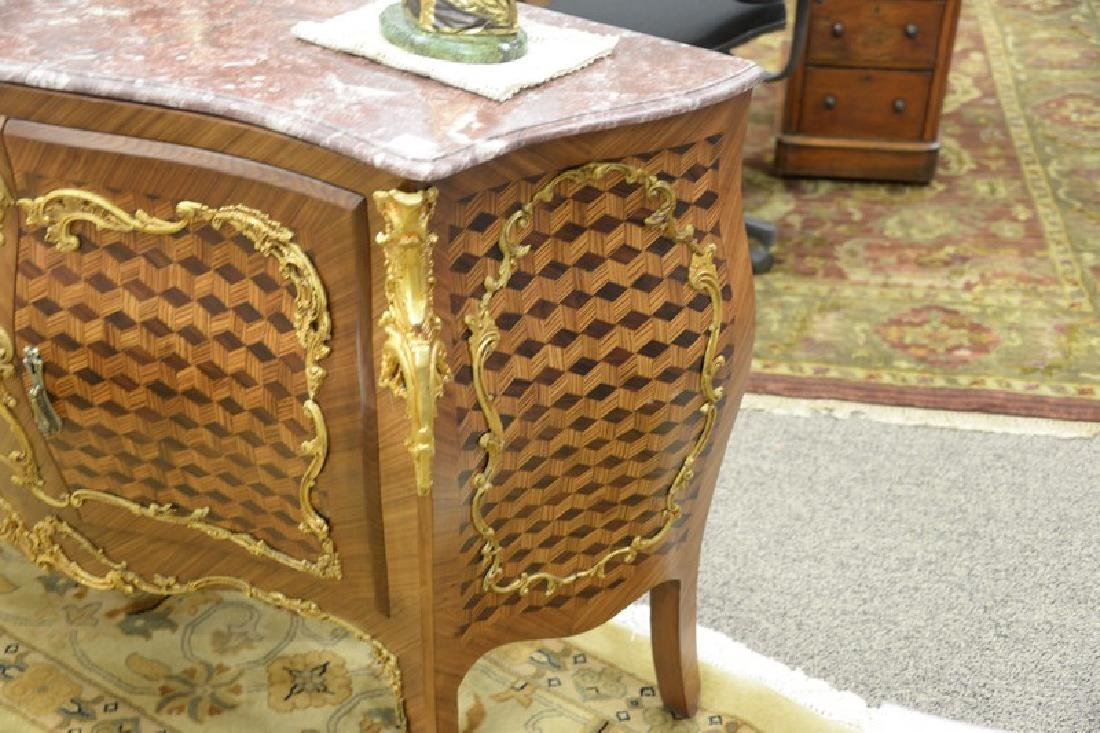 Large French style commode with marble top over two - 3