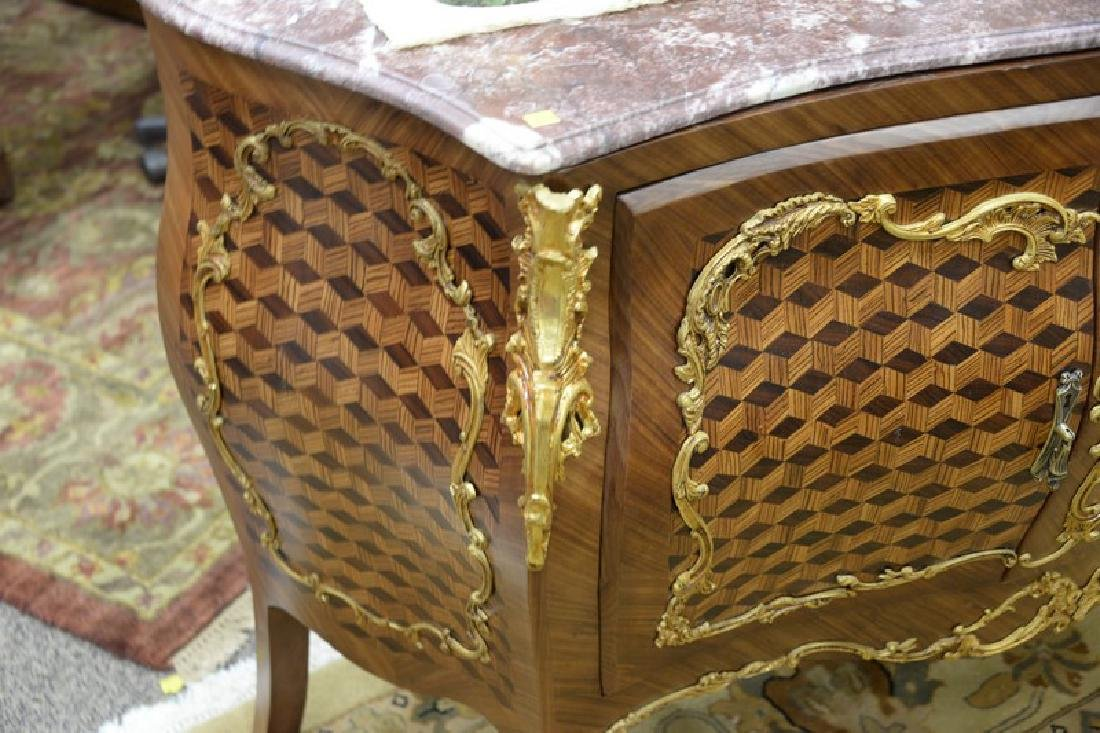 Large French style commode with marble top over two - 6