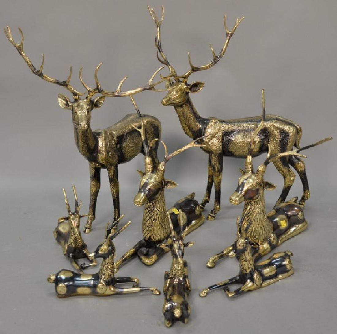 Eight piece Continental brass deer grouping. largest: