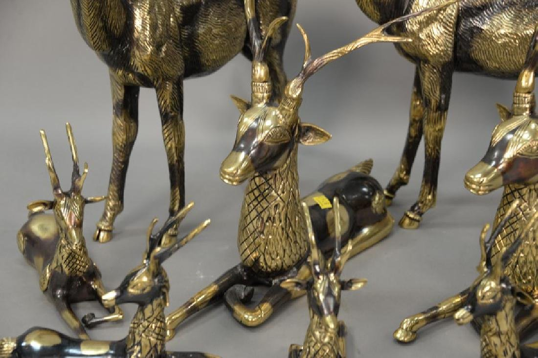 Eight piece Continental brass deer grouping. largest: - 4