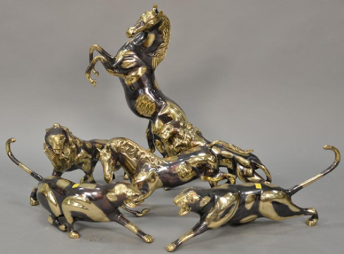 Group of six large brass animal sculptures to include