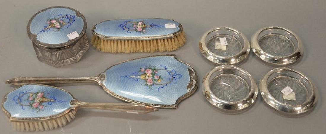 Eight piece lot to include a four piece silver enameled