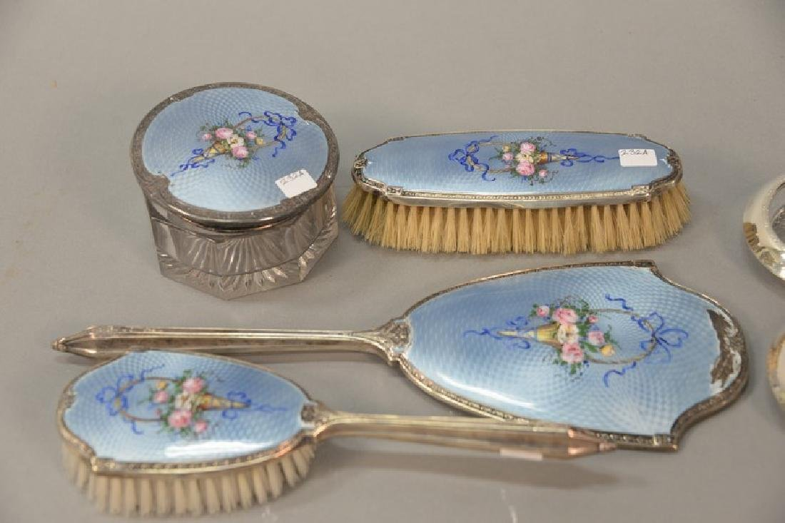 Eight piece lot to include a four piece silver enameled - 2