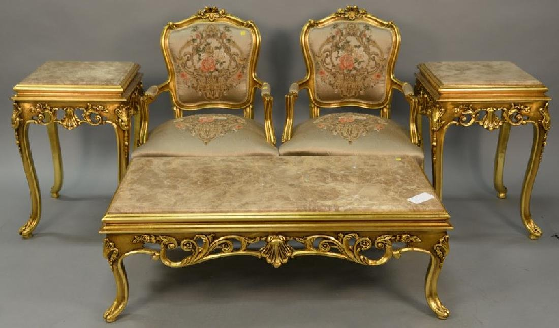 Five piece French style group to include pair of