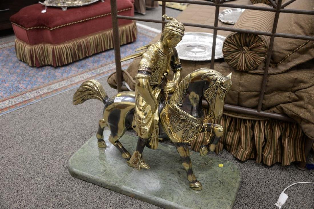 Large contemporary brass horse with rider on marble - 2